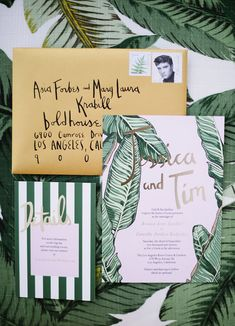 Tropical Glam interior design with beachy + Hawaiian + tiki vibes and an overall retro glam sort of look for the modern boho, inspired by this Beverly Hills Hotel invitation suite with banana leaves.