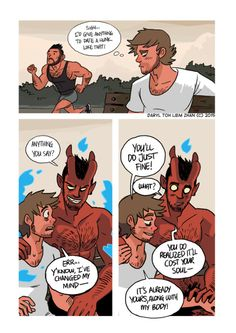 "001 - Faustian Deal  BY: Daryl Toh Illustrations on tumblr  ""updated the strip that started it all. Yep.""   #tohdaryl #tobiasthedemonandguy"