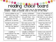 These reading choice boards are great for kids to dig deeper in their books.  They are generic so they can be used with any book!!  On sale for a few days!!