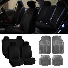 SUV CAR Auto Seat Covers Gray Heavy Duty Mats Combo Black