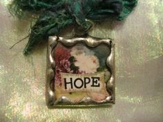 HOPE  Soldered Glass Pendant by victoriacharlotte on Etsy, $5.75