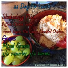 21 Day Fix lunch.  The container used is indicated in the pic via font color.
