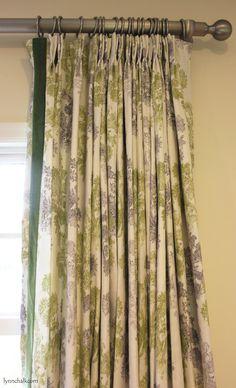 Custom Drapes In John Robshaw Pushpa Moss With Velvet Trim On Inside Edge