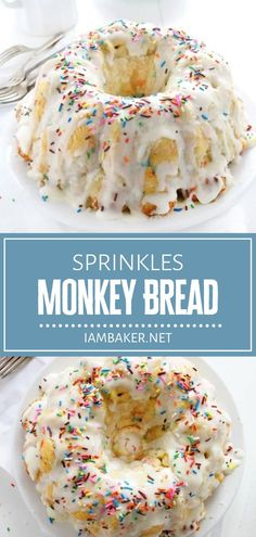 Sprinkles Monkey Bread is easy to prepare ahead! Making this recipe from scratch may take a little time and love, but it is worth every step. Enjoy this deliciously decadent treat covered in a glorious glaze and rainbow sprinkles for breakfast on Christmas in July! Egg Recipes For Breakfast, Best Dessert Recipes, Fun Desserts, Sweet Recipes, Delicious Desserts, Yummy Food, Yummy Yummy, Recipes Dinner, I Am Baker