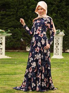 Firuze Çiçekli Elbise - Laci̇vert - Azra Özer