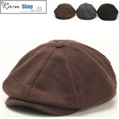 Men Wool Gatsby Eight Panel Newsboy Cap Brown Warm Flat hat Cabbie Golf Beret | eBay