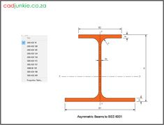 10 2D Steel Sections: UK: Asymmetric Beams to BES 6001 Units: mm  CAD Format: AutoCAD 2013  Block Type: 2D Dynamic (1x10 Lookup Tables)  Units: mm  Description:  A dynamic block made using the BES 6001 Tables.  The block is parametric and uses lookup tables to produce 10 different blocks. The block can be edited to user dimensions with the standard AutoCAD Properties editor  Sizes      280ASB74, 280ASB100, 280ASB105, 280ASB124, 280ASB136     300ASB153, 300ASB155, 300ASB185, 300ASB196… Steel Properties, Steel Beams, Cad Blocks, Autocad, Editor, 2d, Tables, The Unit, Type