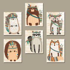 Tribal animal nursery art, woodland tribal wall art, canvas or print, tribal baby Nursery Prints, Nursery Wall Art, Tribal Animals, Tribal Nursery, Woodland Nursery Decor, Art Mural, Art Art, Woodland Animals, Forest Animals