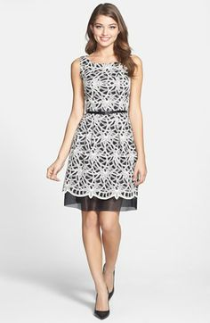 Donna Morgan Textured Lace Fit & Flare Dress available at #Nordstrom