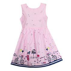 Shybobbi Summer Girls Dress Pink Bicycle Girl Print Cotton Dresses Party Pageant Princess Baby Kids Clothing