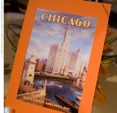 Vintage travel posters, depicting places that Ivette and Tom had visited together, doubled as table names. Vintage Travel Posters, Vintage Postcards, Vintage Wedding Theme, Table Names, Cocktail, Wedding Table Numbers, Travel Themes, Chicago Wedding, Name Cards