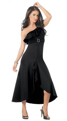 Shoulder buckle evening dress