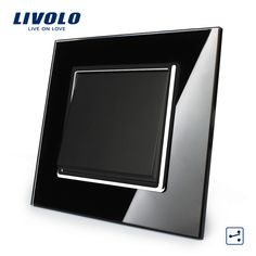 Livolo Manufacturer, Black Crystal Glass Panel, EU Standard Luxury Push Button Switch, 1Gang 2 Way, VL-C7K1S-12