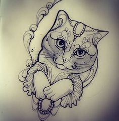 Download Free cat face tattoo cat tatoo miss juliet tattoo juliet tattoos tatoo lace ... to use and take to your artist.