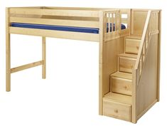 Maxtrix Mid Loft Bed w/Staircase on End