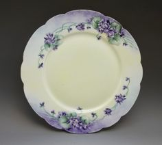 Limoges Hand Painted Plate Purple Violet Flowers Porcelain France Signed #Limoges ***ALSO SEE Vintage Jewelry at: http://MyClassicJewelry.com/shop