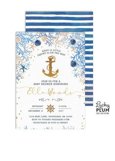 Ahoy its a boy or girl! Gold foiled anchor takes center stage in this watercolor invitation surrounded by ocean corals seashells, scallops and starfish in blues, greens, mint, teal and gold and silver. Perfect for that under the sea party **Please note this design has elements that are designed to look metallic, but no actual metallic ink or foil will be printed on this product   HOW IT WORKS •• This listing is for a fully customized, 5X7, digital print ready file, in which you can print as