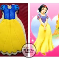 #Disney, Snow White #cookies.  Princesas Galleta vestido blancanieves