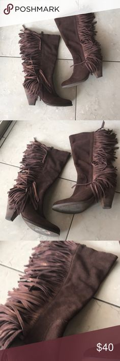 Brown Fringe Boots Heel approximately 2 inches. Boots reach the top of the calf. Brand is Reba originally purchased at Dillard's. Shoes