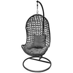 Hanging Chair in Grey ($395) ❤ liked on Polyvore featuring home, outdoors, patio furniture and hammocks & swings