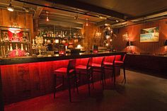 Wooden bar and red light