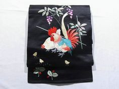 Chickens & Chicks Design Vintage Embroidery Shusu Nagoya Obi
