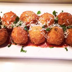#Pancetta #arancini stuffed with #asiago with #homemade #arrabiatta sauce