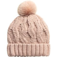 Cable-knit Hat $12.99 (£10) ❤ liked on Polyvore featuring accessories, hats, cable knit hat, cable hat, h&m hats, pom pom hat and pompom hat