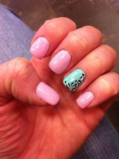 Baby Pink Nails with Cheetah Print