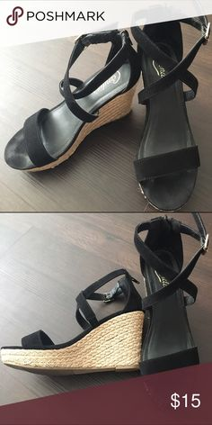 Candie's black espadrille wedges Barely worn! Zip in the back. Fabric is like microsuede. Candie's Shoes Wedges