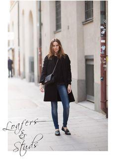 Jeans Anine Bing, abrigo Bruunz Bazaar, jersey Filippa K,  calzado Zara y cartera Chanel.