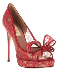 Get the must-have pumps of this season! These Valentino Red Peep Toe Lace Bow Pumps Size US are a top 10 member favorite on Tradesy. Red Pumps, Peep Toe Pumps, Red Shoes, Stiletto Heels, Pumps Heels, Pretty Shoes, Beautiful Shoes, Cute Shoes, Me Too Shoes