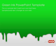Free Green Ink PowerPoint Template is another awesome PowerPoint background template that you can download with green background color and ink spots for arts and galleries ppt presentation