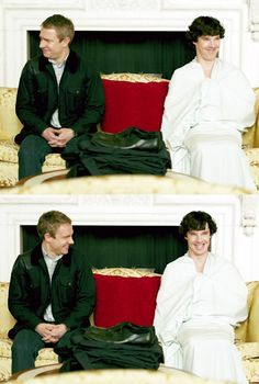"John: ""Are you wearing any pants?"" SH: ""No.""  Best scene ever. I love how they giggle like school girls because they are in Buckingham Palace and Sherlock decides to go with a sheet on."