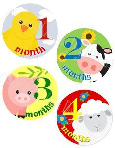 monthly onesie stickers- boys or girls barnyard farm animals- perfect baby shower gift!
