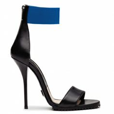 Mike Gros Michael Kors Fall 2013 series of black high-heeled sandals blue stitching