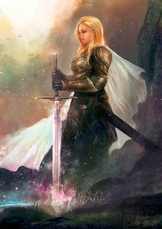 Powerful Prophetic Art painting of woman warrior in armor and a sword held before her with flames rolling at the bottom. Awesome! Please also visit www.JustForYouPropheticArt.com for more colorful Prophetic Art. Thank you so much! Blessings!