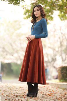 Sorrel Wool Skirt Winter Skirt Warm Plus Size by dresstore2000