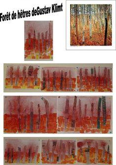Forêt de hêtres de Gustav Klimt: Tracer une ligne horizontale, coller des carrés de papier de soie de 2 couleurs en dessous de la ligne . Déchirer des arbres dans du papier journal , les coller et vaporiser dans la partie supérieure de l'encre rouge.