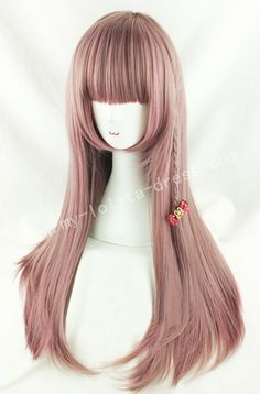 Cute Rosy Brown Straight Lolita Wig