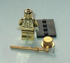 COLLECTIBLE MINIFIGURE Lego Custom Mr Gold Chrome & Staff w/Gem (mpht)