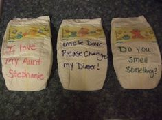 Messages on a diaper- Baby Shower