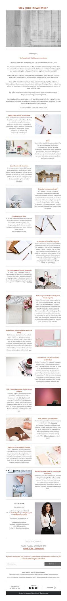 May-June newsletter Copy Editing, Instagram Life, News Blog, May, Greek, June, Greece