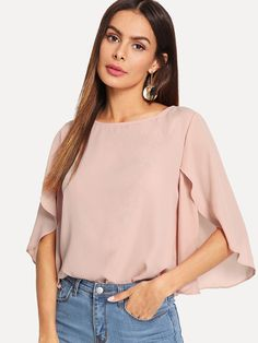 Sheinside Batwing Sleeve Plain Casual Ladies Tops Round Neck Regular Fit Split Womens Tops and Blouses Elegant Blouse Summer Shirts, Summer Tops, Half Sleeves, Types Of Sleeves, Plain Tops, Office Ladies, Batwing Sleeve, Pink Fashion, Pulls