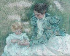 DAME EN VERT . Mère jouant avec son enfant. Mary Cassatt, née le 22/05/1844 à Allegheny City en Pennsylvanie et morte le 14/06/1926 (à 82 ans) au Mesnil-Théribus en France, où elle est enterrée, est une peintre et graveuse américaine.
