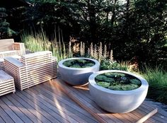 Anthony Paul Landscape Design Chairs! Also like the water garden in round planters.: Water Fountain, Pond Idea, Landscape Design, Container Ponds, Concrete Ponds, Water Garden