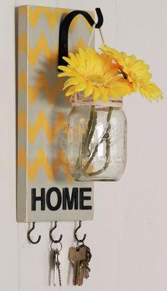 Chevron Housewarming gift Key Holder Wood wall by HomePiecebyPiece