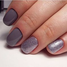 Beautiful nails 2017, Glitter nails ideas, Grey nails, Grey nails ideas, Ideas for short nails, New year nails ideas 2017, Silver nails, Two color nails