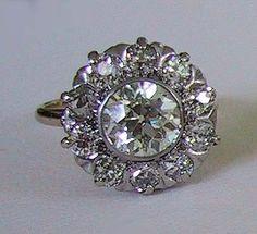 Diamond Cluster Ring Old European Cut Stones 2 65 Carats Antique 3N36 | eBay