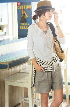 。:°ஐ*。:°ʚ♥ɞ*。:°ஐ* Modest neutrals + stripes Mode Outfits, Chic Outfits, Summer Outfits, Japan Fashion, Girl Fashion, Fashion Looks, Casual Chique, Look Street Style, Looks Style